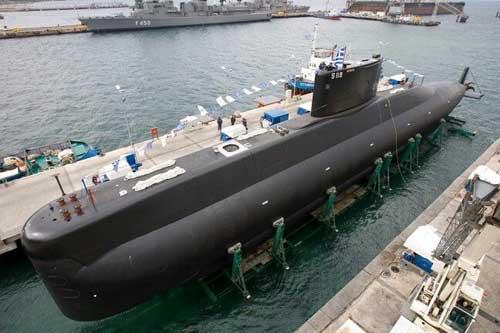 Kapal selam Poseidon AL Yunani, salah satu keluarga Type 209 yang mengadopsi teknologi AIP.