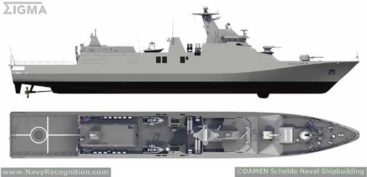 Tampilan dua dimensi PKR SIGMA Class 10514 TNI AL.