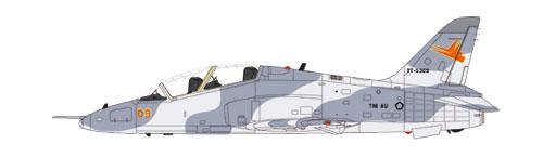 Hawk MK.53 dengan kamuflase fungsi Tempur Taktis (TT). Warna ini juga yang digunakan oleh JAT.