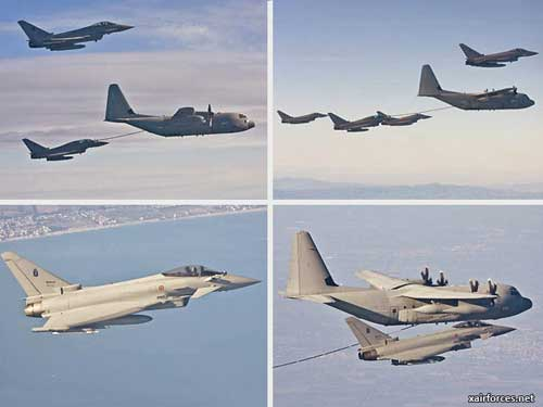 Eurofighter Typhoon milik AU Italia laklukan air refuelling dengan KC-130 Hercules.