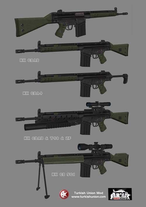 Beberapa varian G3 yang di produksi secara lisensi oleh Turki.