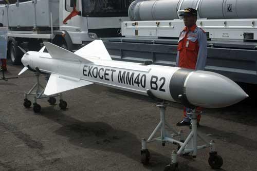 Rudal Exocet MM40 Block 2 milik TNI AL.