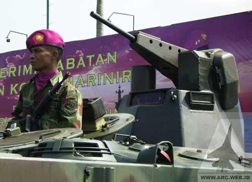 Kubah TLI 127 pada AMX-10P Marines milik Korps Marinir TNI AL.