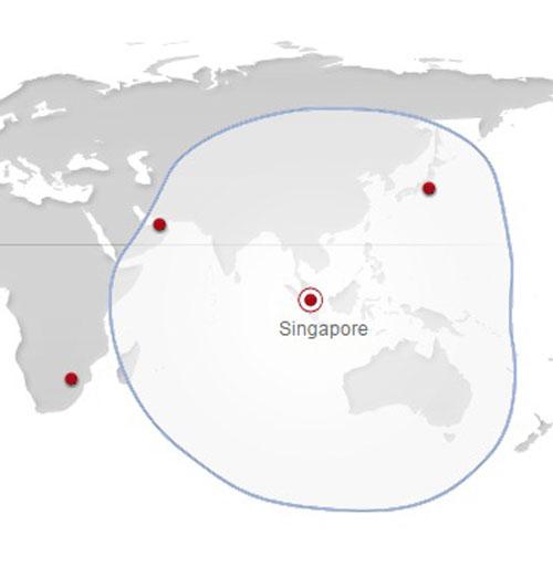 Ilustrasi jangkauan terbang Boeing MSA, bila diterbangkan dari Singapura.