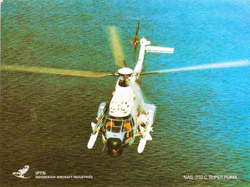 Poster promosi NAS 332 Super Puma dengan AM-39 Exocet yang digunakan oleh PT IPTN.