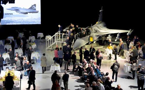 Full mockup Gripen NG dipamerkan dalam University Day - 15 April 2016 di Linköping, Swedia.