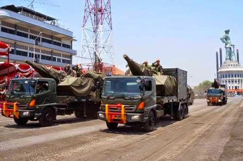 Oerlikon Skyshield Paskhas dalam defile HUT TNI ke-69.