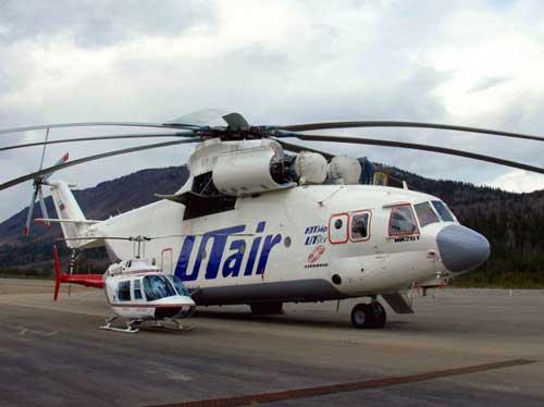 Perbandingan Mi-26 dengan helikopter ringan Bell Jet Ranger.