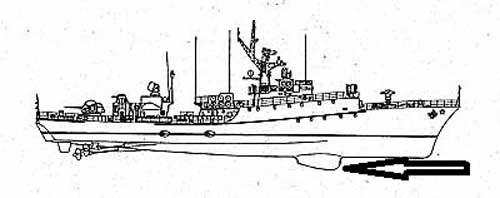 Ilustrasi penempatan sonar di korvet Grisha, antara korvet Parchim dan Grisha punya banyak kemiripan.
