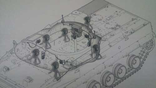 Konfigurasi posisi awak BMP-3F yang mengenakan TSH-4M.