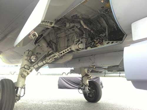 Indise main landing gear Gripen C.