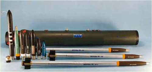 Paket rudal Skyfire 70 dan peluncurnya.