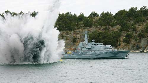 Kapal pemburu ranjau MCMV 47 dari Swedia.