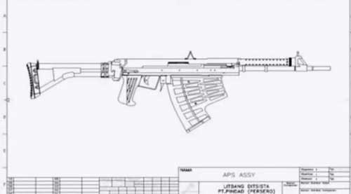 Desain SSBA dengan popor lipat samping khas SS-1